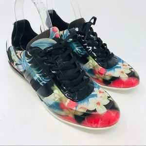 DIrk BIkkembergs Colorful Floral Sneakers Shoes